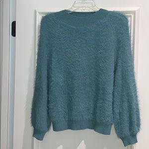 Urban Outfitters Peach Fuzzy Mock Neck Sweater